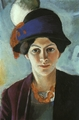 Art - Oil Paintings - Masterpiece #4270 - August Macke - Portrait of the Artist's Wife Elisabeth with a Hat - Museum Quality