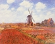 Art - Oil Paintings - Masterpiece #4358 - Claude Monet - Tulip Fields with Windmill - Gallery Quality