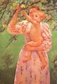 Art - Oil Paintings - Masterpiece #4436 - Mary Cassatt - Baby Reaching for an Apple - Museum Quality