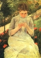 Art - Oil Paintings - Masterpiece #4439 - Mary Cassatt - Girl Sewing - Museum Quality