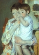 Art - Oil Paintings - Masterpiece #4440 - Mary Cassatt - Mother and Child against a Green Background - Museum Quality