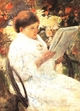 Art - Oil Paintings - Masterpiece #4444 - Mary Cassatt - Woman Reading in a Garden - Museum Quality