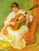 Art - Oil Paintings - Masterpiece #4490 - Pierre Renoir - Woman with Guitar - Gallery Quality