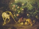 Art - Oil Paintings - Masterpiece #3010 - Francois Desportes - Dog Guarding Game near a Rosebush - Museum Quality
