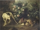 Art - Oil Paintings - Masterpiece #3053 - Francois Desportes - Dog Guarding Game Near a Rosebush (mk05) - Gallery Quality
