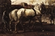 Art - Oil Paintings - Masterpiece #3055 - George-Hendrik Breitner - Two White Horses Pulling Posts in Amsterdam - Gallery Quality