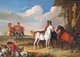 Art - Oil Paintings - Masterpiece #3084 - unknow artist - Horses and Hunter - Museum Quality