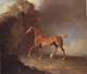 Art - Oil Paintings - Masterpiece #3086 - Benjamin Marshall - A Golden Chestnut Racehorse by a Rock Formation With a Town Beyond - Gallery Quality