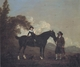 Art - Oil Paintings - Masterpiece #3100 - Thomas Gooch - A Child on A Hunter Held by a Groom and Tow Terriers in a Landscape - Gallery Quality
