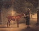 Art - Oil Paintings - Masterpiece #3107 - John Ferneley - Mr Wombell's Hunter with a Groom in a Courtyard - Gallery Quality