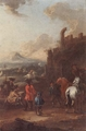 Art - Oil Paintings - Masterpiece #3121 - August Querfurt - Cavalrymen before a hilltop town - Museum Quality