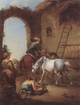 Art - Oil Paintings - Masterpiece #3123 - unknow artist - Horsemen saddling their horses - Museum Quality