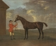 Art - Oil Paintings - Masterpiece #3126 - Francis Sartorius - The Racehorse 'Horizon' Held by a Groom by a Building - Gallery Quality