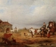Art - Oil Paintings - Masterpiece #3127 - unknow artist - An open landscape with a horse and carriage halted beside a pond,with anmals and innnearby - Museum Quality