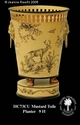 Jeanne Reed's - Round Tole Planter w/liner - mustard toile