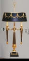 Jeanne Reed's - 2 Arm Lamp - black & gold w/ormolu