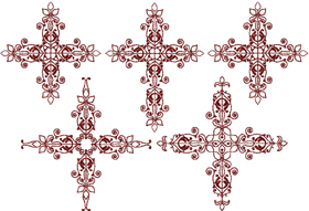 "Red-work Crosses Set for 4""x4"" & 5""x7"""