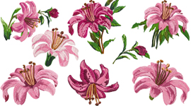Lily Flowers Set for 4x4-inch hoops