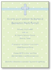Adorable Dots Boy Baptism Invitation