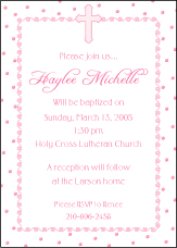 Dots-n-Swirls Girl Baptism Invitation