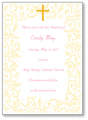 Cross and Vines Girl Baptism Invitation