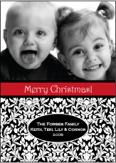 Damask in Black Photo Christmas Card