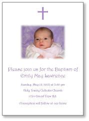 Photo Cross Girl Baptism Invitation