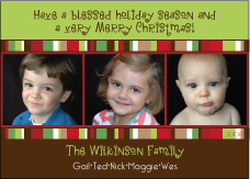 Photo Row in Brights Christmas Card