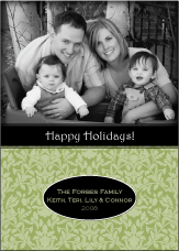 Damask in Sage Photo Christmas Card