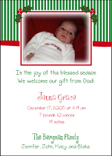 Stripes on Top Christmas Birth Announcement