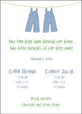 Clothesline Boy Boy Birth Announcement