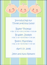 Cutie Pies Triplet Boys Birth Announcement