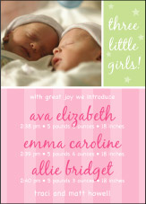 Sweet Joy Girl Triplet Birth Announcement