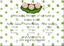 Peas B&G Triplet Birth Announcement