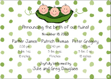 Peas in a Pod Boy Triplet Birth Announcement