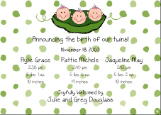 Peas GGG Triplet Birth Announcement