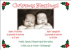 Holly Corners Christmas Birth Announcement