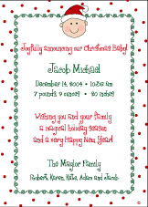 Dots-n-Swirls (no photo) Christmas Birth Announcement