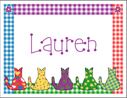 Kitties with Gingham Note Cards