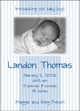 Splendid Stripes Boy Photo Birth Announcement