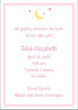 Moon and Stars Girl Birth Announcement