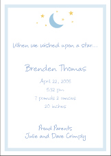 Moon and Stars Boy Birth Announcement
