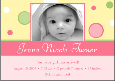 Bubble Fun Girl Photo Birth Announcement