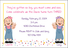 Cartoon Kids 3 Year Old Twin Girls Birthday Invitation