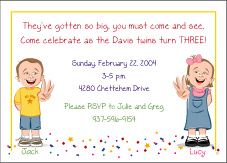 Cartoon Kids 3 Year Old Girl Boy Twins Birthday Invitation