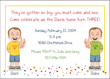 Cartoon Kids 3 Year Old Twin Boys Birthday Invitation