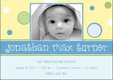 Bubble Fun Boy Photo Birth Announcement