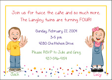 Cartoon Kids 4 Year Old Girl Boy Twins Birthday Invitation