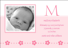 Serendipity Sweet Girl Birth Announcement