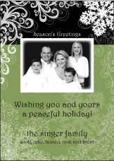 Classy Snowflakes on Black Photo Christmas Card